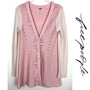 Free People Open Knit Pink Cardigan Lace Sweater